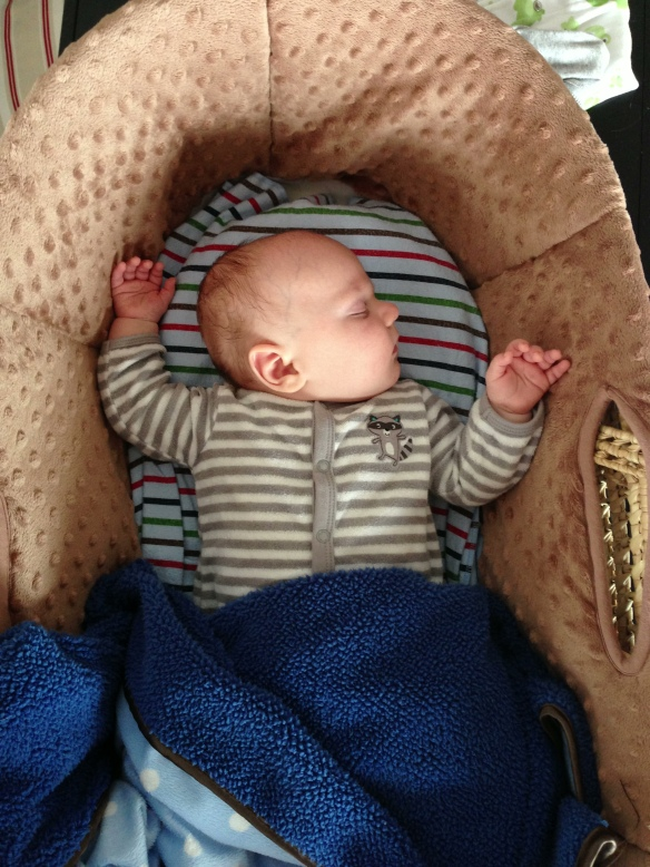 Sleeps with his arms up. Always.