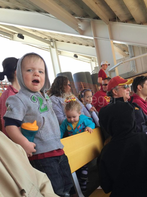 Cheering on the Cyclones at a spring football game.